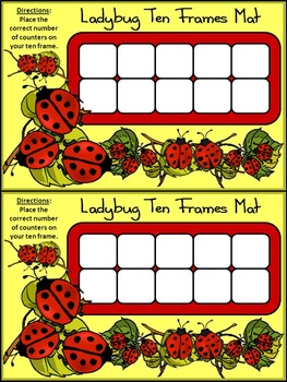 Ladybug Activities: Ladybug Ten Frames Spring-Summer Math Activity Packet