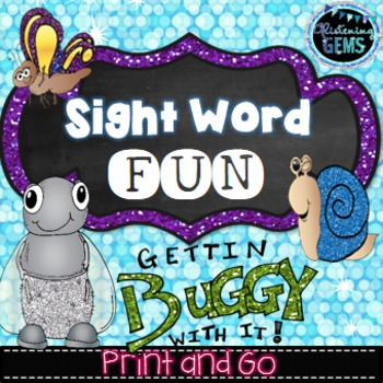 Insects Sight Word Cut and Paste Activities