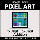 Spring: 3-Digit + 2-Digit Addition - Google Sheets Pixel Art