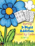 Spring 3-Digit Addition with Regrouping Color-by-Code Printables