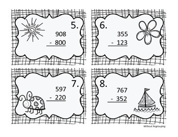 Spring 3-Digit Subtraction Write the Room - With and Without Regrouping