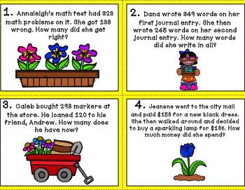 Spring 3 Digit Word Problem Math Center