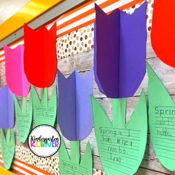 Spring 3D Tulip Flowers Bulletin Board Bundle Writing Craft Kindergarten 1 2 3