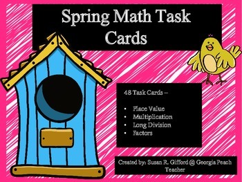 Spring 4th Grade Math Task Cards (CCSS)