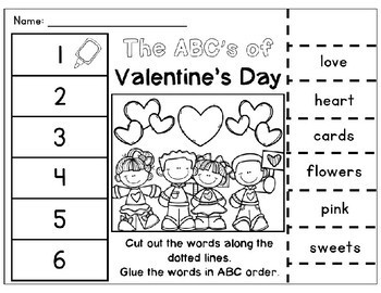 Spring ABC Order Cut & Paste Worksheets- Alphabetical Order No Prep Printables