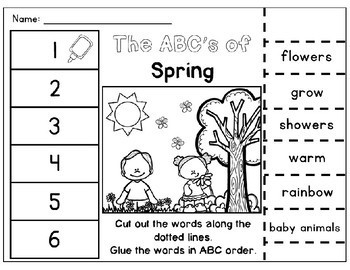spring abc order cut paste worksheets alphabetical order no prep printables