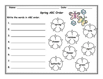 Spring ABC Order Worksheet