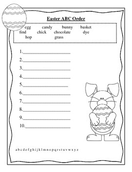 Spring ABC order- St. Patrick's Day, Easter, Earth Day and Mother's Day