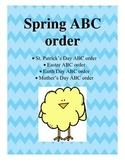 Spring ABC order- St. Patrick's Day, Easter, Earth Day and