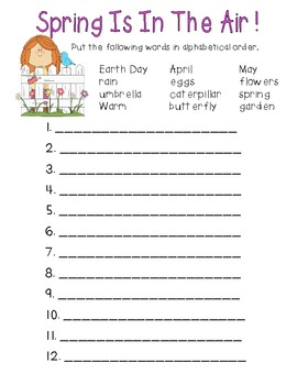 Spring ABC order (color and b/w)