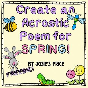 Spring Acrostic Poem Freebie By Josies Place Tpt