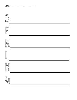 Spring Acrostic Poem format