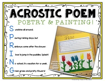 Spring Acrostic Template Freebie {Painting and Poetry!} Kindergarten and First