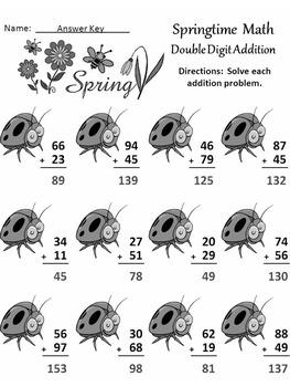 Spring Worksheet Activities: Spring Math Drills Activity Packet