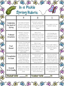 Spring Pick A Project Writing Activities, Choice Boards, Rubric, and Game
