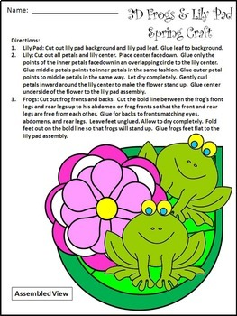 Spring Activities: 3D Frogs & Lily Pad Spring Craft Activity Packet
