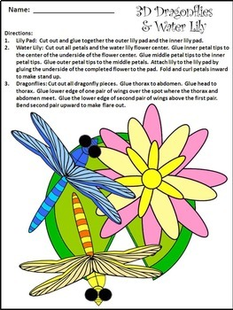 Spring Activities: Dragonflies & Water-Lily Craft Activity