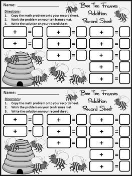 Spring Activities: Bee Spring Ten Frames Math Activity Packet