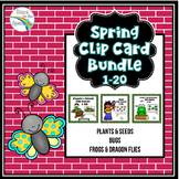 Spring Counting 1-20 Clip Cards Bugs, Frogs, Plants and Se