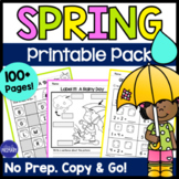 Spring Activities - Math and Literacy Printable Activities