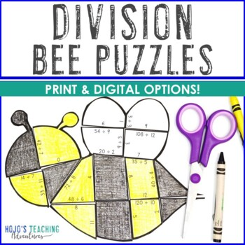 DIVISION Bee Puzzles   Spring Games, Stations, Activities, or Math Centers