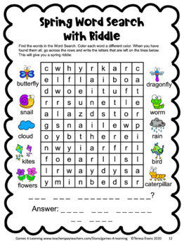Spring Activities Free: Spring Math Games, Spring Writing, Spring Word Search
