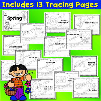 Spring Activities: Sight Words, Sentence Tracing, Picture Tracing, & Handwriting