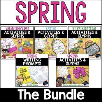 Spring Activities, Holidays & Spring Glyphs and Spring Writing Prompts - Bundle
