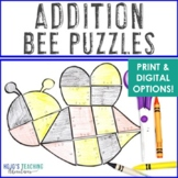 ADDITION Bee Puzzles | Spring Math Activity for 1st, 2nd, or 3rd Grade