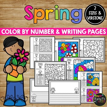 Spring Activities for Writing and Math | Color by Number and Writing Pages