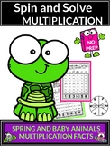 Spring Activities with Baby Animals Multiplication Spin and Solve Math Centers