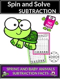 Spring Activities with Baby Animals Subtraction Spin and Solve Math Centers