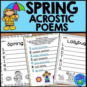 Spring Acrostic Poems By The Froggy Factory Teachers Pay Teachers