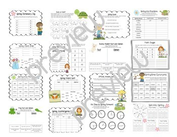 Spring Activity Pack-Perfect for Subs