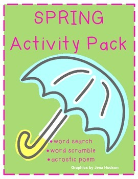Spring Activity Pack: word search, scramble, acrostic poem