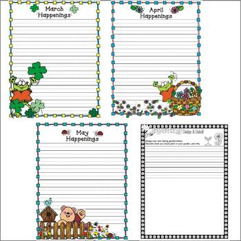 Spring Activity Packet : 9 Journal Writing Pages : Lined Paper / Shaped Paper
