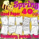 Spring Sub NO PREP Activity Packet Unit : Vocabulary Spelling Math Lined Paper +
