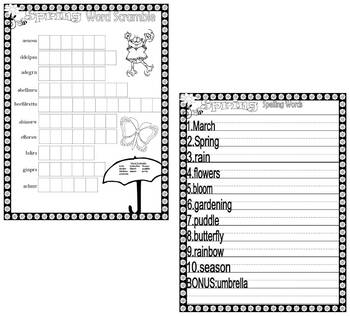 Spring Activity Packet Vocabulary Spelling Word Search : Great Substitute Plans