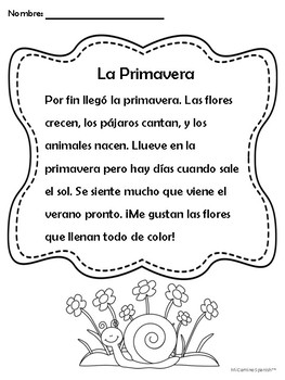 """Spring Activity for Spanish Students with Song Lyrics to """"De Colores""""!"""