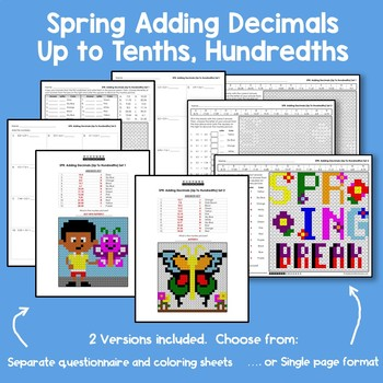 Adding Decimals 4th Grade Math Spring Review Mystery Picture Coloring Sheets