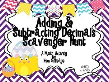 Spring Adding & Subtracting Decimals Scavenger Hunt