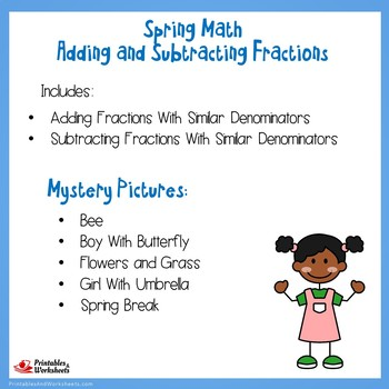 Spring Adding and Subtracting Fractions With Like Denominators