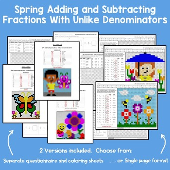 Spring Adding and Subtracting Fractions With Unlike Denominators