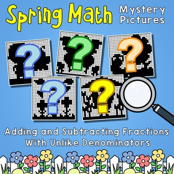 Spring Adding & Subtracting Fractions Unlike Denominators Color By Number Sheets