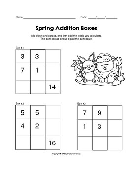 Spring 1 and 2 Digit Addition Boxes Puzzle Worksheet