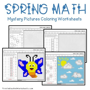 Spring Math Addition, Spring Addition Mystery Pictures Coloring Worksheets