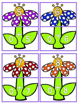 Spring Addition Fact Matching Game (Math Facts to 10)