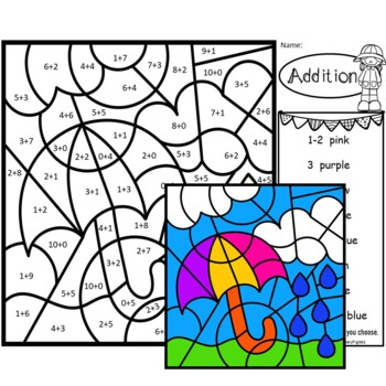 Spring Addition Facts, Subtraction Facts & Word Family Color by Number BUNDLE