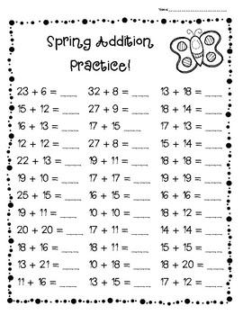 Spring Addition Practice Pack!--Leveled Worksheets