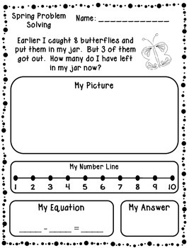 Spring Addition & Subtraction Word Problems (Kindergarten/First)